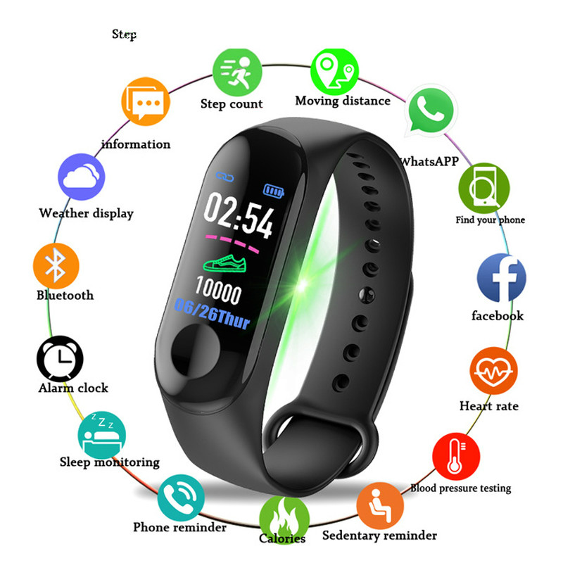 2020 M3 Plus Smart Watch Blood Pressure Health Waterproof Smart Watch M3 For Bluetooth Watch Wrist Belt Fitness Tracker
