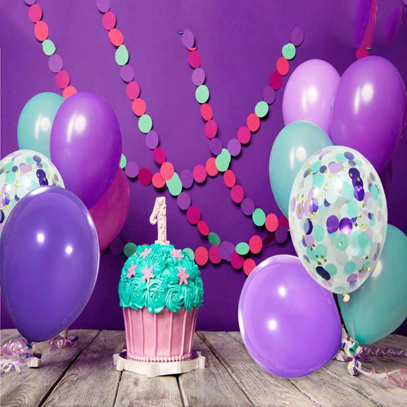 1set 20pcs Happy Birthday Party Decoration Balloons Mermaid Theme Purple Balloon Latex Round Confetti Balloon Wedding Engagement