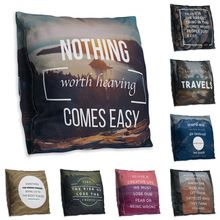 Double-sided Printing Polyester Throw Pillow Case English Letter Famous Sentence Ocean Scenery Blue Green Cushion Cover 45x45cm