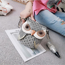 Cute Owl Shape Shoulder Bag Mini Messenger Bag cartoon leath