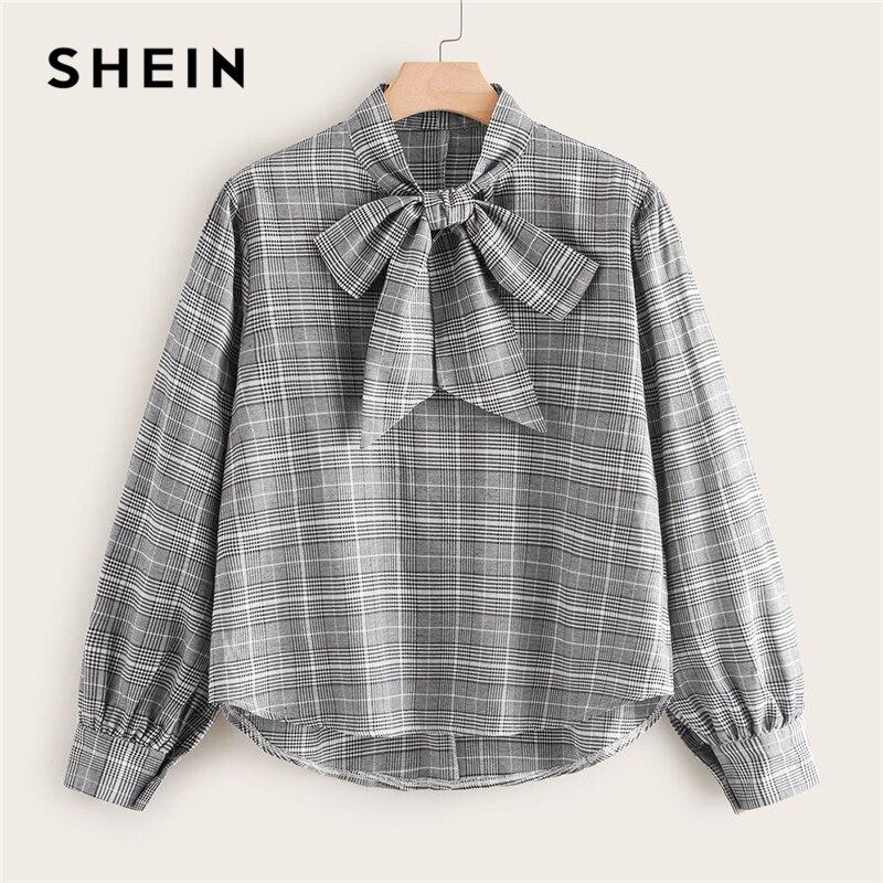 SHEIN Plus Size Grey Glen Plaid Tie Neck Blouse Women Autumn High Low Hem Preppy Elegant Womens Tops And Blouses