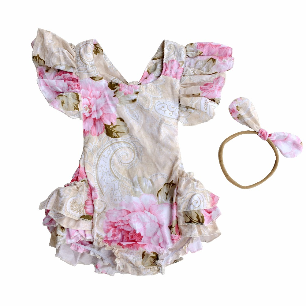 Kids Girl Baby Fringe Ruffle Bodysuit With Headwear Toddler Infant Summer Floral Shortsleeve Jumpsuit For Children