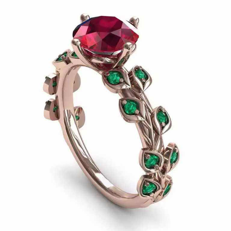New Design Vintage Female Ruby Flower Green Leaf Zircon Rings For Women Filled Promise Wedding Ring Party Gift Fashion Jewelry