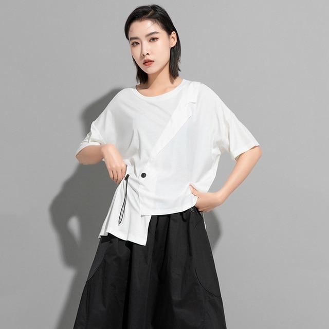[EAM] Women White Irregular Drawstring Big Size T-shirt New Round Neck Short Sleeve Fashion Tide Spring Summer 2021 1DD9278 5