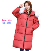2019 Plus size XL 7XL Women Winter Parkas Down cotton jacket Fur collar Hooded Thicken Long Cotton padded jacket Large size 2915