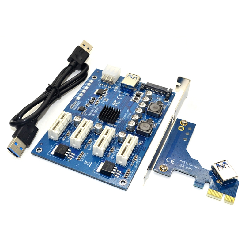 HOT-PCI-E X1 To 4PCI-E X16 Expansion Kit 1 To 4 Port PCI Express Switch Multiplier HUB 6Pin Sata USB Riser Card For BTC Miner Mi