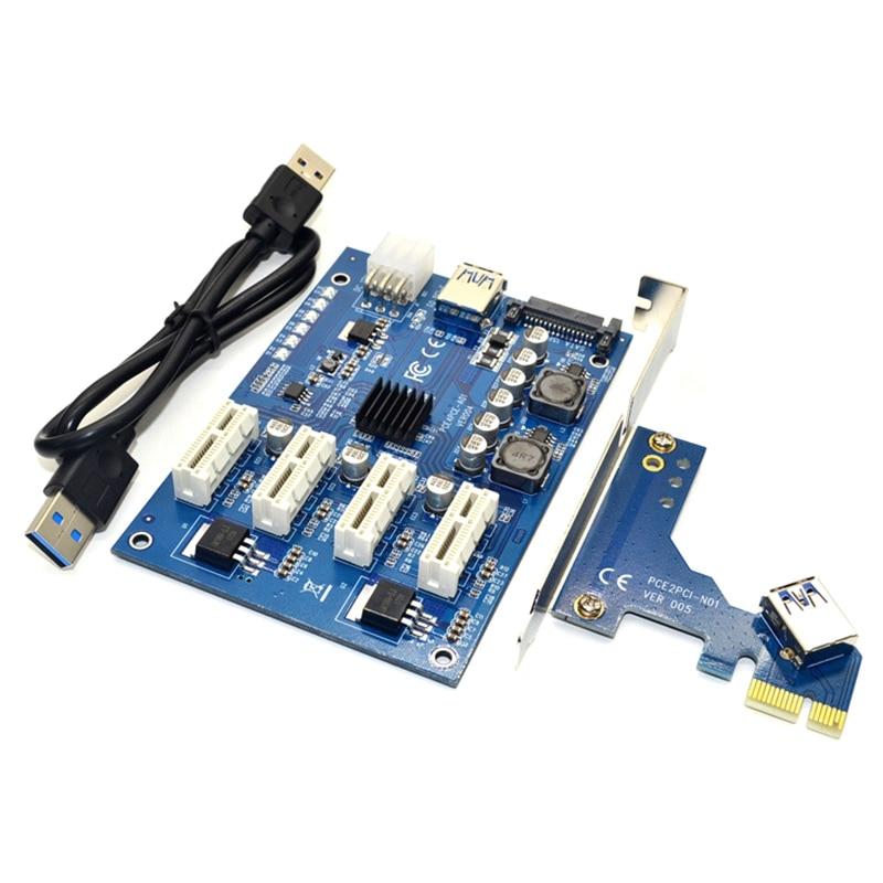 HOT-PCI-E X1 To 4PCI-E X16 Expansion Kit 1 To 4 Port PCI Express Switch Multiplier HUB 6Pin Sata USB Riser Card For BTC Miner Mi