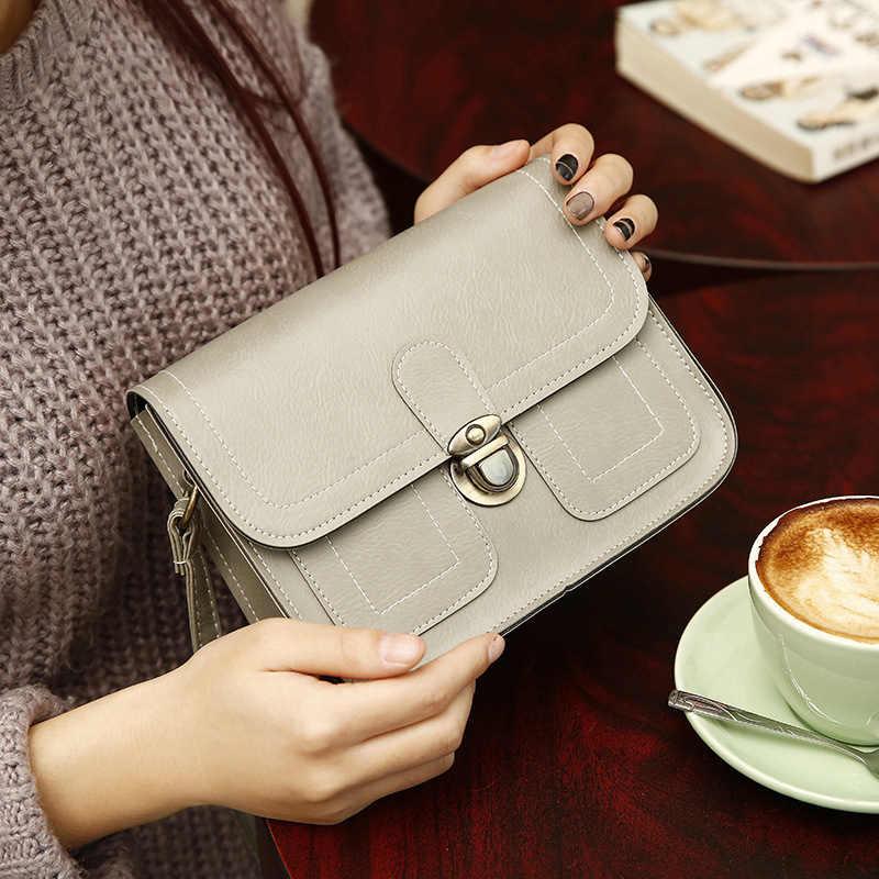 Nueva moda de diseñador bolsos bandolera para mujeres de cuero Retro moda pequeña bolsa cuadrada bolsa femenina