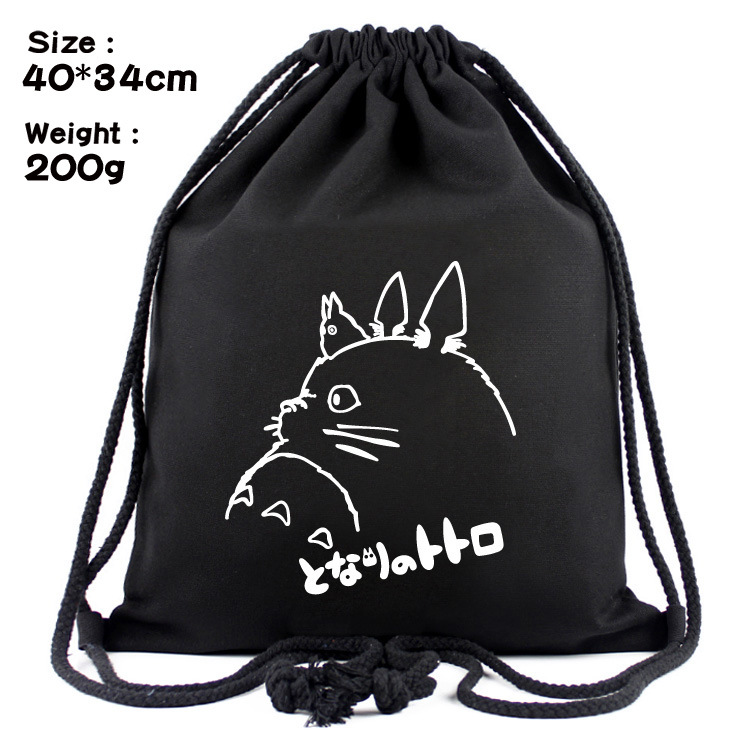 Cute Cartoon Totoro Drawstring Bags Canvas Backpack Organizer Pouch For Kids Boys Girls Anime Drawstring Bag Gifts Backpacks