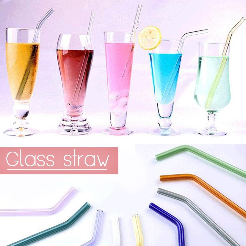 Pailles en verre réutilisables colorées et droites et courbées portables en forme de mariage, fête danniversaire