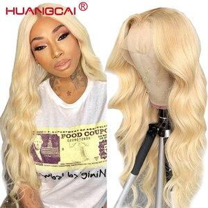 Image 1 - Mittelteil 613 Blonde Spitze Teil Menschliches Haar Perücke Pre Gezupft 150% Brasilianische Körper Welle Honig Blonde 13x1 spitze Perücken Remy Menschenhaar