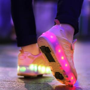 Image 3 - 黒ピンクグレー usb 充電ファッション led ライトローラースケート靴子供のためのスニーカーとホイールホイール