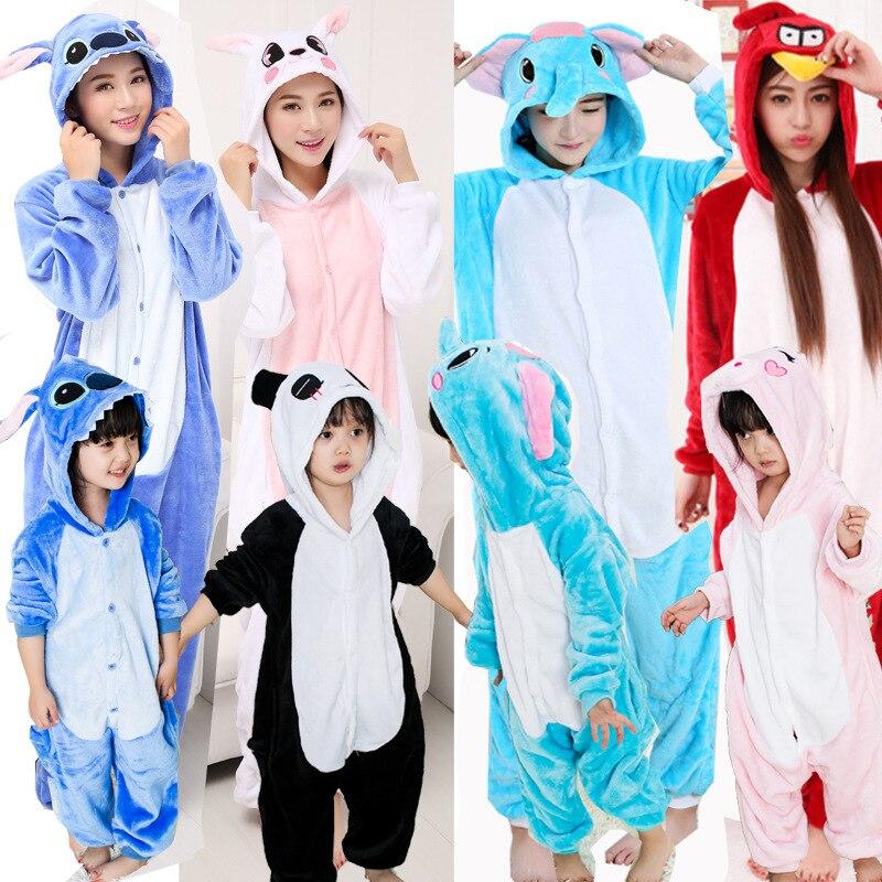 Family Pajamas Green Pink Unicorn Rabbit Adult Kid Clothes Kugurumi Onesie Couple Party Women Pijama Pyjama Anime Animal Onsie