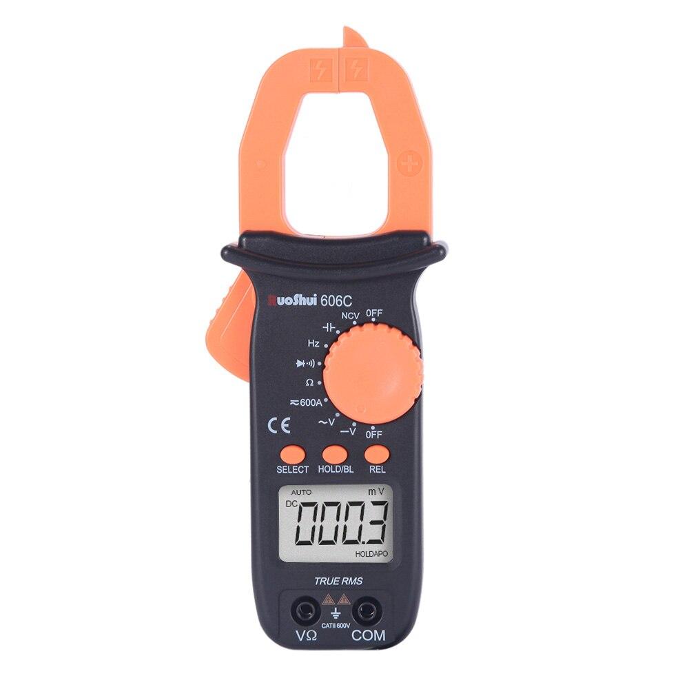 606C RuoShui medidor de pinza Digital 4000 cuenta valores eficaces verdaderos de la resistencia de la capacitancia de frecuencia Mini AC DC medidor de pinza