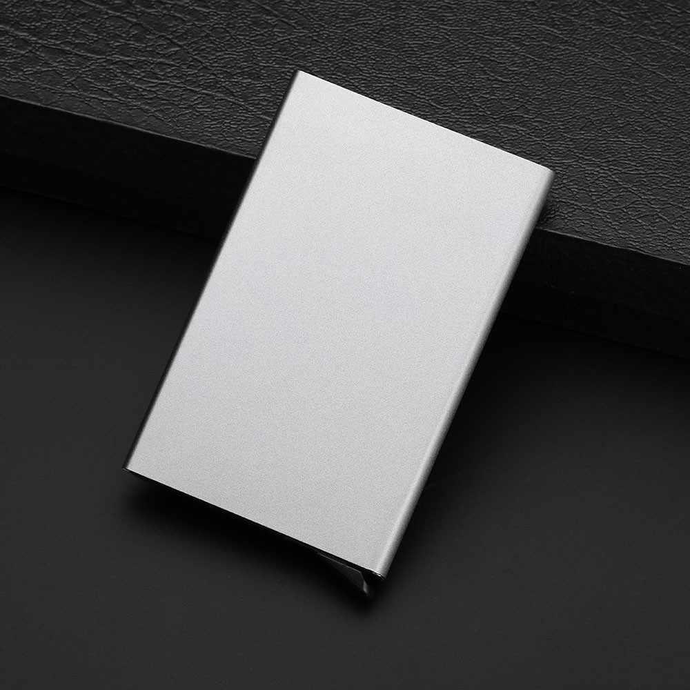 Portatarjetas de acero inoxidable de calidad para hombre, Delgado, antiprotector, para viajes, tarjetero ID para mujer, Cartera de Metal Rfid, Porte Carte