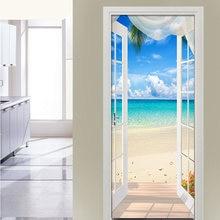 3d наклейка на дверь с изображением моря из окна настенная Фреска