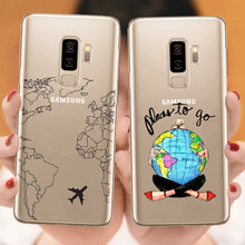 World Map Travel Airplane Soft silicone Phone Case Cover for Samsungs Galaxys S6 S7 Edge S8 S9 S10 Plus S10 Lite Note 9 A50 2019(China)