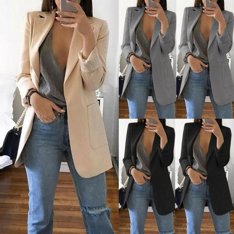 Meihuida Autumn Women Fashion Slim Blazers Suit Jacket Lady Office Suit Black with Pockets Business Notched Blazer Coat