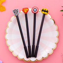 Creative fountain pen stationery cartoon cute soft gel black superhero league signature 0.38mm