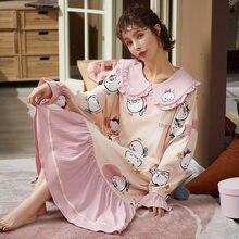 Nightwa camisola de algodão feminino bonito dos desenhos animados nightwear doce princesa manga longa sleepwear solto outono homewear