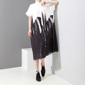Image 5 - 2020 كم طويل امرأة الخريف أبيض وأسود طباعة قميص فستان التعادل مصبوغ نمط اللوحة حجم كبير ميدي السيدات فستان كاجوال 3400