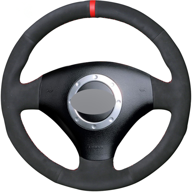 Black Suede Hand sewing Car Steering Wheel Cover for <font><b>Audi</b></font> A2 8Z A3 8L Sportback A4 B6 Avant A6 C5 <font><b>A8</b></font> <font><b>D2</b></font> TT 8N S3 S4 RS 4 RS 6 image