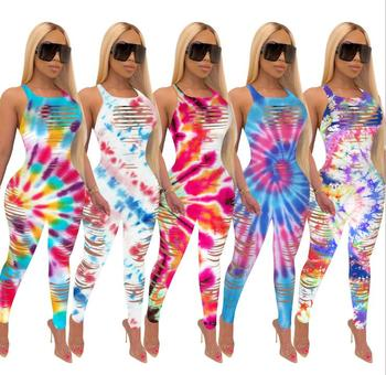 2020 Summer Women s Jumpsuit Gradient Color Hole Sexy Tight Sleeveless 5 S- 3XL sexy jumpsuit