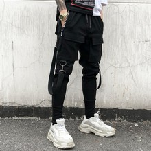 Spring and Autumn Chao brand overheated trousers mens Korean version of fashionable personality ribbon overalls leisure trouser