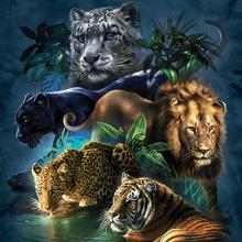 5D DIY Diamond Painting Tiger Lion Leopard Full Square Diamond Embroidery Animals Cross Stitch Rhinestone Mosaic Painting Decor full square diamond 5d diy diamond painting tiger lion leopard 3d embroidery cross stitch rhinestone mosaic painting decor bk