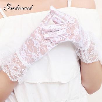 Gardenwed koronkowe aplikacje rękawiczki ślubne 2020 Ruffles pełne palce białe dodatki do sukni ślubnej tanie i dobre opinie COTTON POLIESTER Palec Jeden rozmiar DO NADGARSTKA WOMEN Dla osób dorosłych aplikacja ALA2020072502
