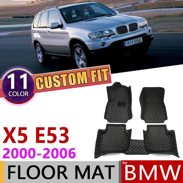Custom Leather Car Floor Mats for BMW X5 E53 2000~2006 5 Seats Auto Mat Foot Pad Carpet Accessories 2001 2002 2003 2004 2005
