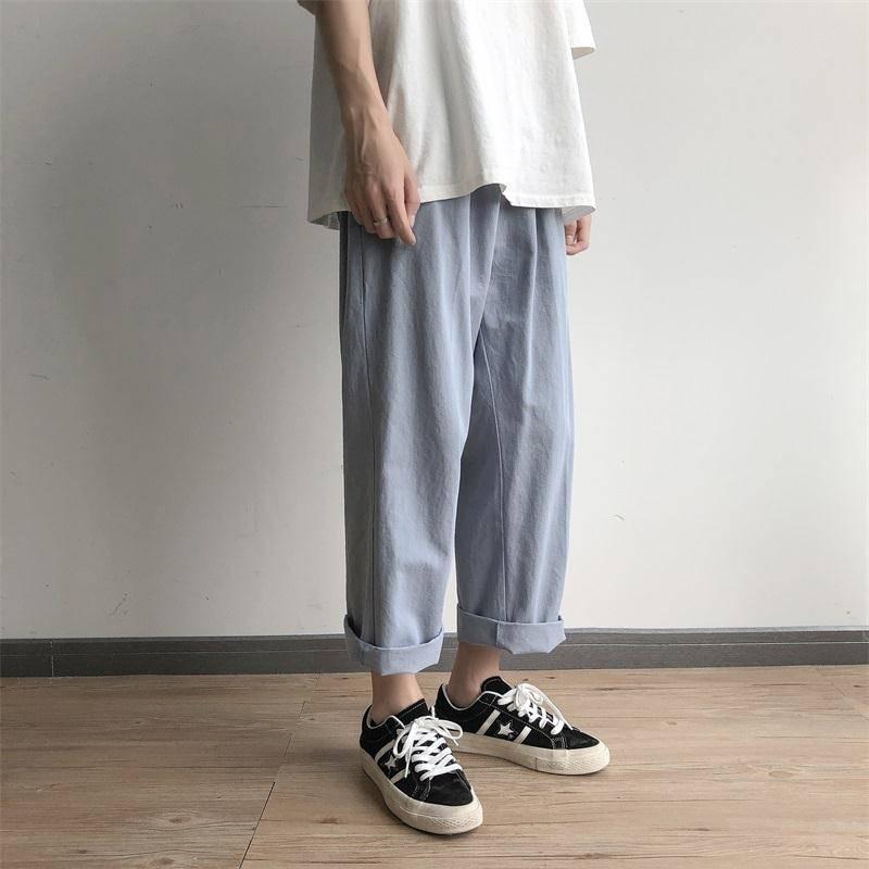 Men Casual Loose Office Pants Solid Baggy Loose Elastic Pants High Street Sweatpants Autumn Pants Streetwear Trousers Males