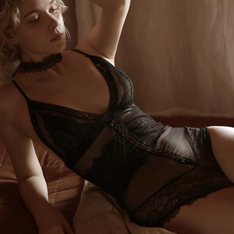 TERMEZY Frauen Spitze Body Sexy Tiefem V-ausschnitt Ausschnitt Sleeve Playsuit Romper Weiß Schwarz Feste Aushöhlen Dame Overall Overalls