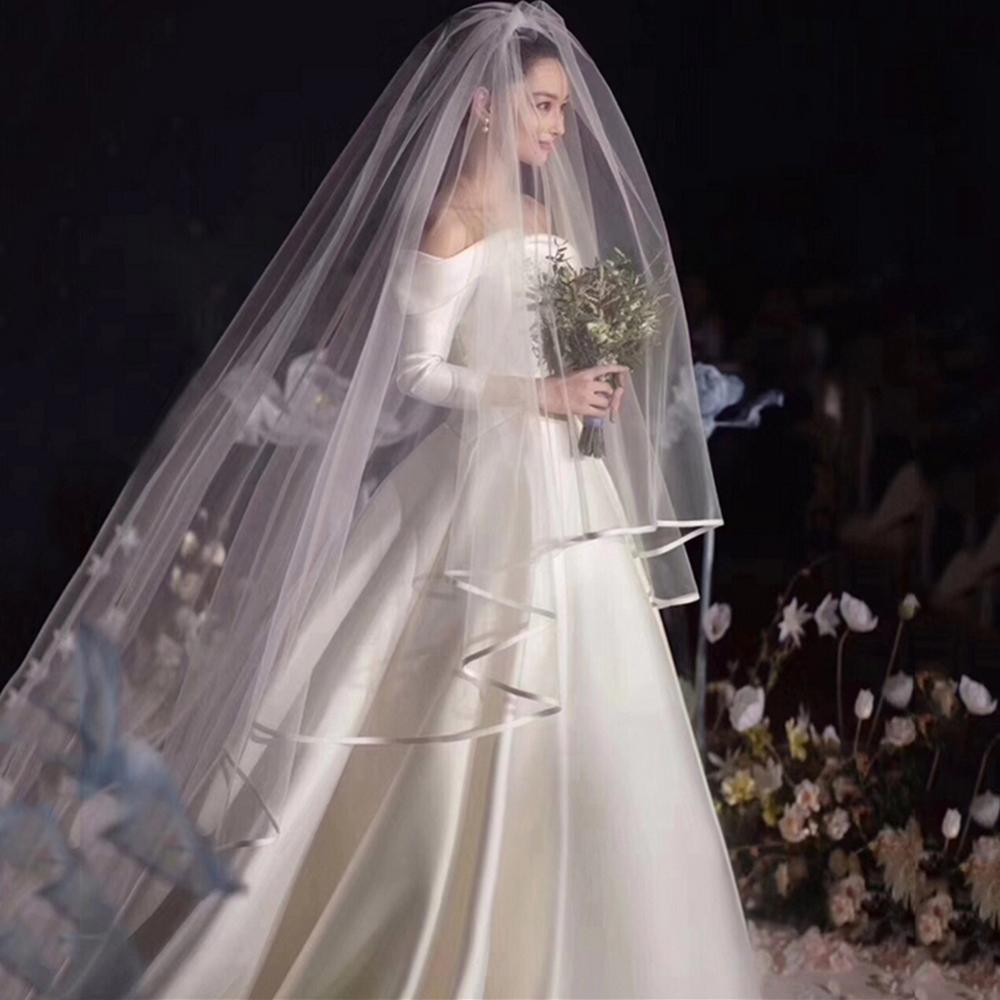 Borda da fita véus de casamento tule longo véu de noiva duas camadas véu de noiva longo véus de festa de noiva acessórios de casamento
