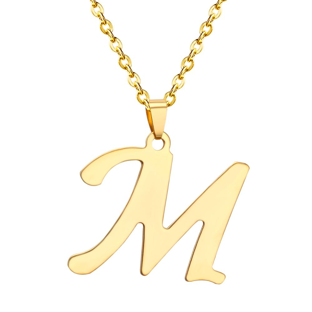 LUXUKISSKIDS Initial Alphabet Letters A-Z Pendants Necklaces Gold Color Stainless Steel Choker Initial Necklace Women Jewelry