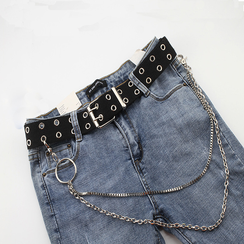 2019 New Women's Fashion Double Hole Punk Canvas Belt Extension Chic Ladies Decorative Woven Waistbelt Unisex Wild Jeans Belt