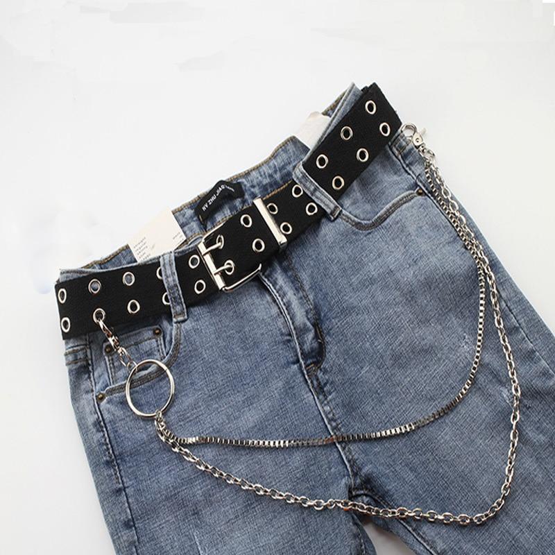2019 New Women's Fashion Double Hole Punk Canvas Belt Extension Chic Ladies Decorative Woven Waistbelt Unisex Wild Jeans Belt
