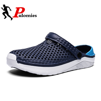 PULOMIES Summer Men's and Women's Clogs Quick Dry Casual Home Slippers Couple Garden Shoes Beach Sandals Mules Bathroom Slippers фото