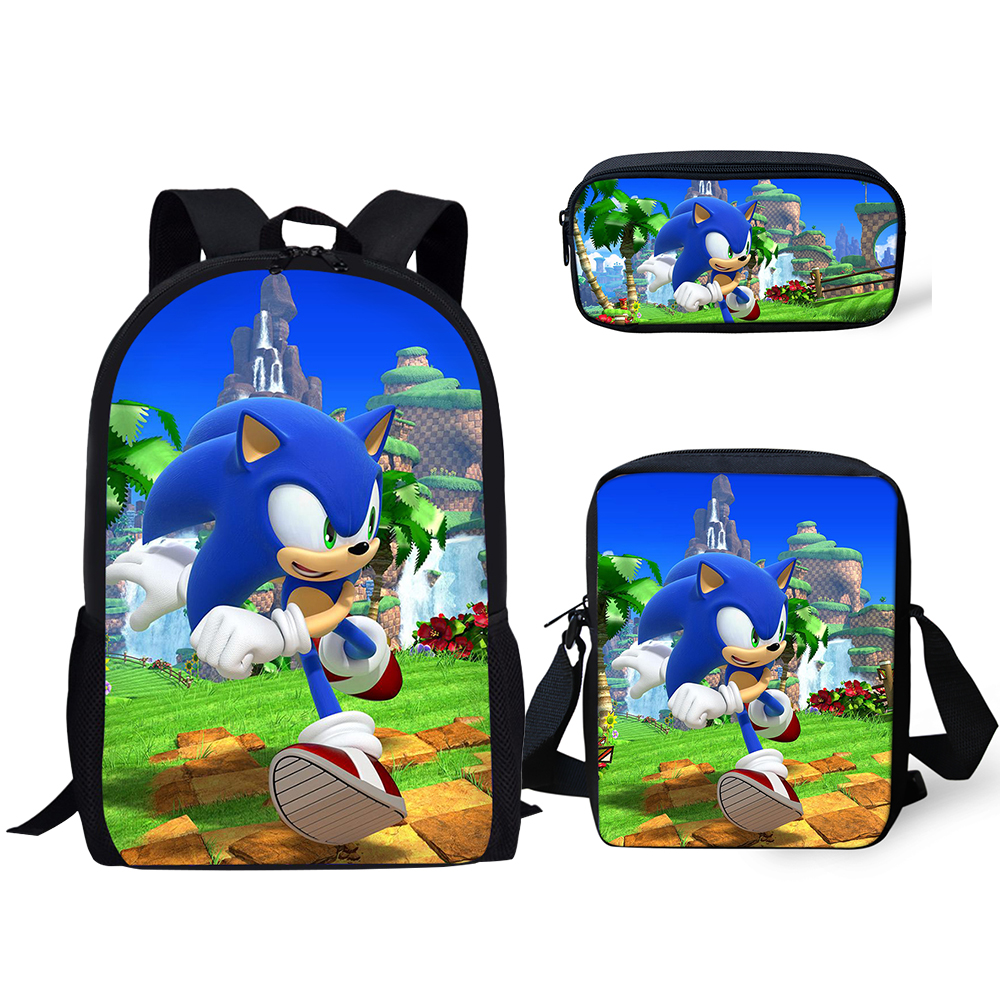 Fashion 3PC/Set Backpack Sonic 4 The Hedgehog Pattern Students School Bags Cartoon Anime Designer Teenagers Book-Bags Set