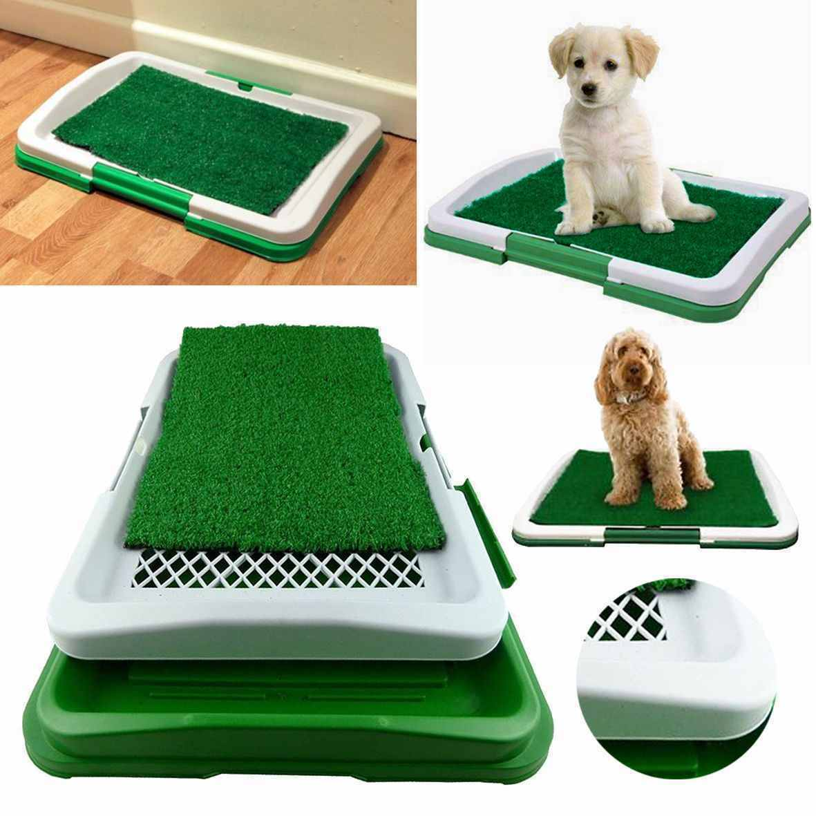 Indoor Dog Pet Potty Pad DogCat Litter Box Training Portable Toilet Large Loo Tray Grass Mat 3 Layer Pet Toilet For Dogs Cats