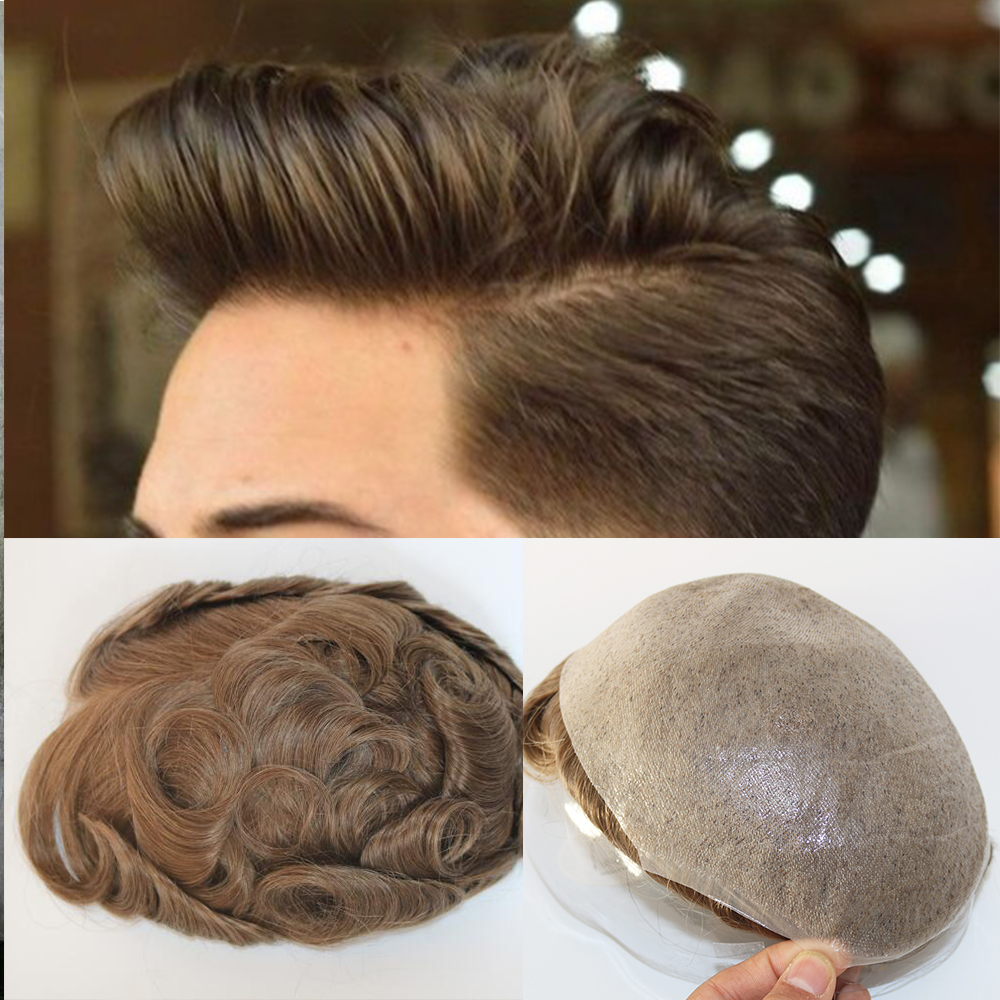 V-looped Mens Wig Natural Hairline Toupee 0.03mm-0.05mm Super Thin Skin Men's Toupee Brown Hair Replacement Toupee For Men