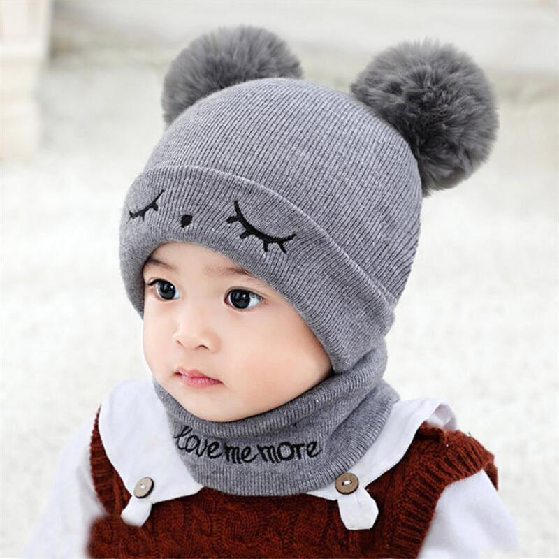 Winter Kids Hat Scarf Set Baby Warm Kint Ribbed Pom Pom Hat 2 Peice Set Child Girl Boy Ear Protection Letter Cap Ring Scarves
