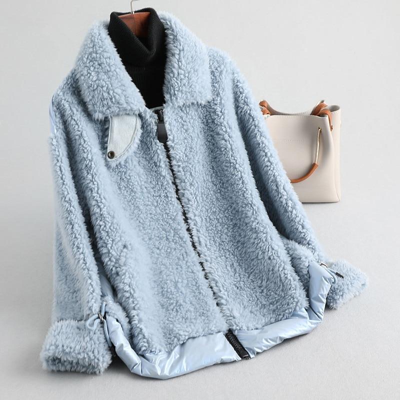 Fur Real 2020 Coat Winter Coat Women Sheep Shearling Down Jacket Women 100% Wool Coat Female Korean Outwear KQN59780