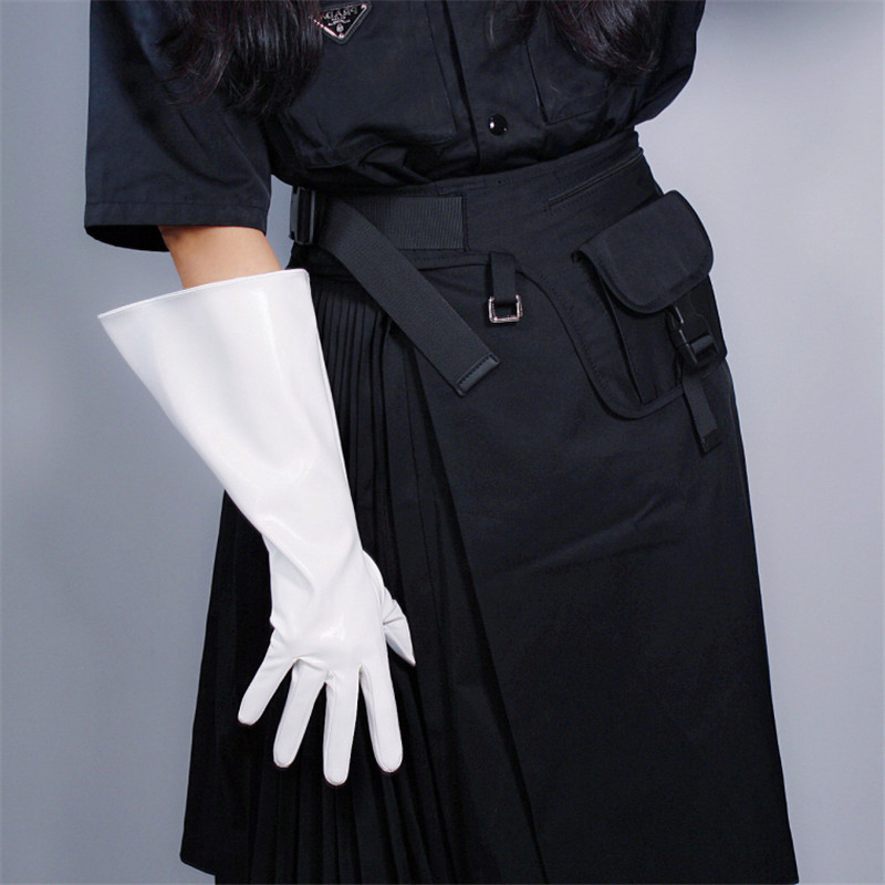 PATENT LONG GLOVES Unisex Faux Leather Wide Balloon Puff Sleeves Large White 38cm WPU147