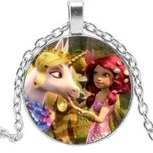 2019 Handmade Unicorn Girl Long Necklace Glass Convex Children's Pendant Necklace Fashion Sweater Chain Jewelry Gift 2019 explosion models unicorn glass necklace handmade anime cute tianma pendant long necklace birthday gift