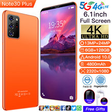 2021 New Global Version Note30 Plus 6.1 Inch Smartphone Android 10.0 4800mAh 6+128GB 13+24MP Face ID Dual SIM 4G 5G Mobilephone