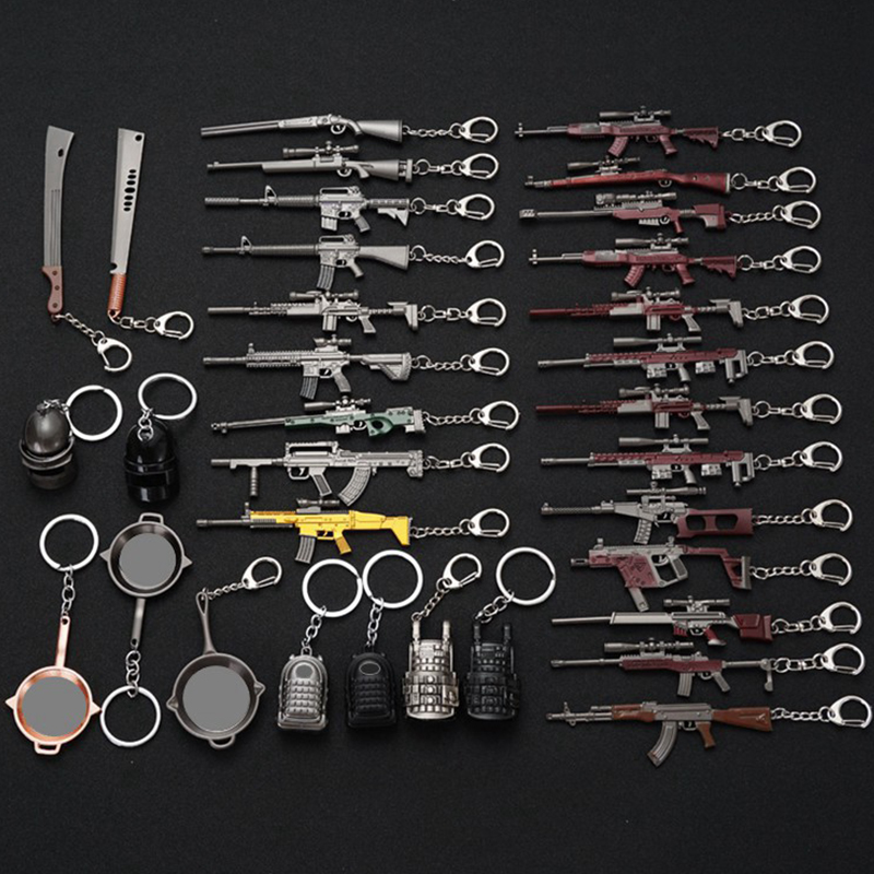 2020 Fashion PUBG Eat Chicken Keychain Battlegrounds Backpack Battle Frying Pan Helmet 98k Key Ring Woman Man Jewwlry Wholesale