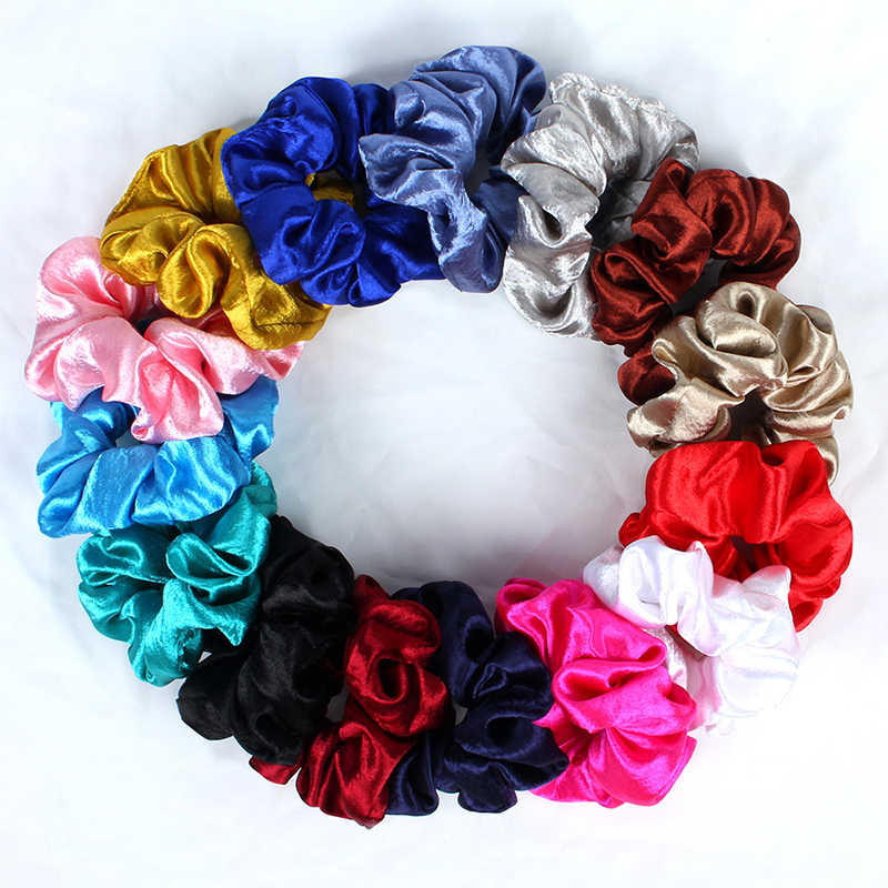 2019 New Women Satin Silky Hair Scrunchies Elastic Hair Bands Bright Color Scrunchie Girl's Hair Tie Accessories Ponytail Holder