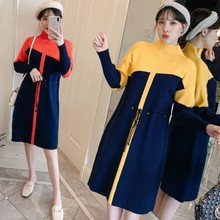 Autumn Winter Maternity Dresses Contrast Color Pregnancy Dress Knitting Pregnant Dress Fashion Korean Clothes for Pregnant Women make more winter fashion knitting maternity dress render han edition mom gradient even clothes