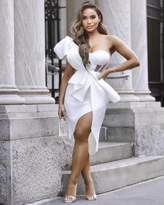 Новое летнее модное сексуальное платье на одно плечо с сеткой и оборками, Белое Облегающее женское платье 2020, элегантные вечерние платья ...